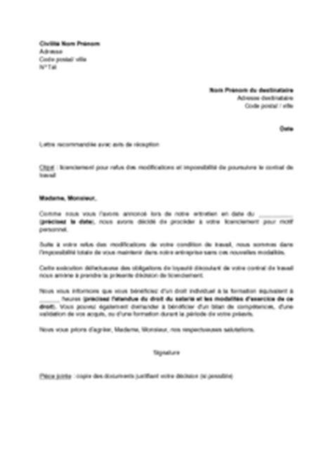 Modification Du Contrat De Travail Motif Personnel by Lettre De Licenciement Pour Refus Des Modifications Par Le