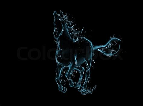 what are water made out of galloping liquid artwork on black animal figure in