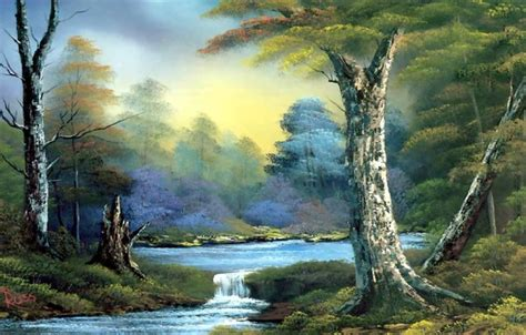 bob ross painting wallpaper 1920x1080 wallpaper picture landscape stump trees the bushes