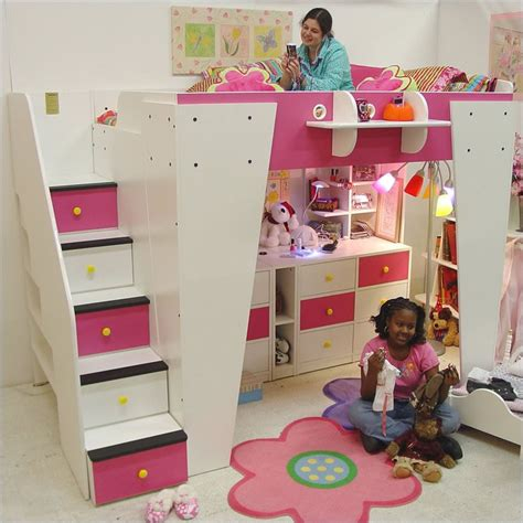 berg furniture kid s headquarters loft bed with storage