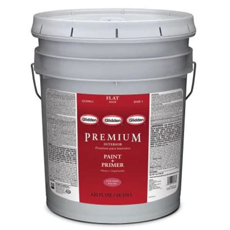 home depot 5 gallon interior paint glidden premium 5 gal white flat interior paint gln9013 05 the home depot
