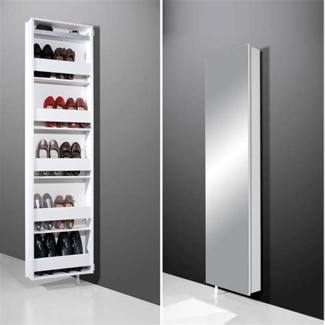 shoe cabinet with mirror igma mirrored rotating shoe storage cabinet in white 6958