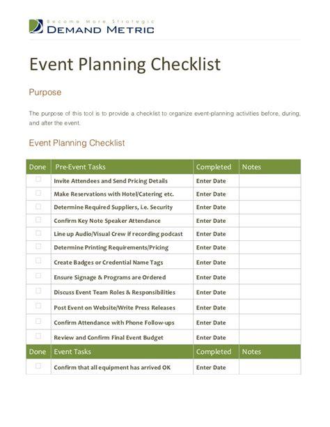 planning checklist event planning checklist
