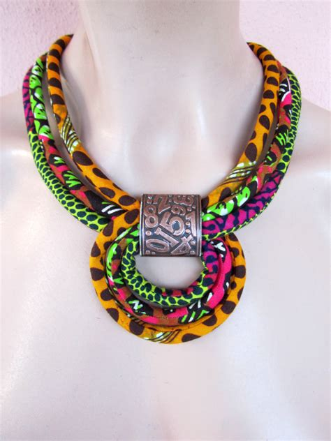 how to make ankara jewelry multicolor necklace fabric necklace orange choker
