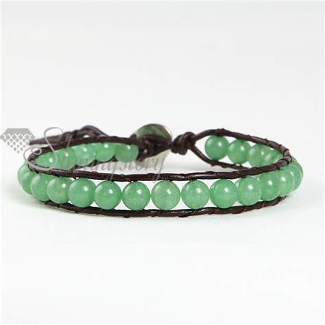 leather beaded bracelets single wrap leather jade beaded bracelets jewellrry wholesale
