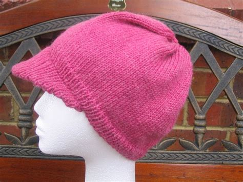 knit hat with brim pattern free shazzas patterns brimmed cap