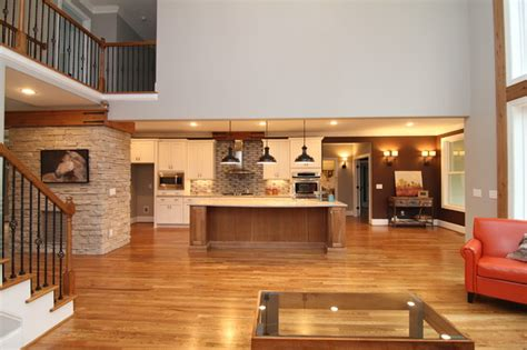 Ceiling Ideas For Bedroom open two story great room rustic living room raleigh