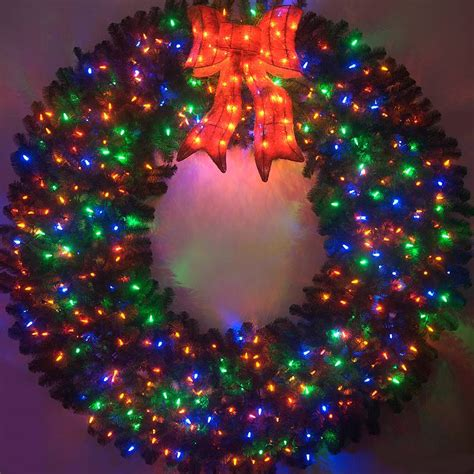 large lighted wreath 6 foot color changing l e d prelit wreath