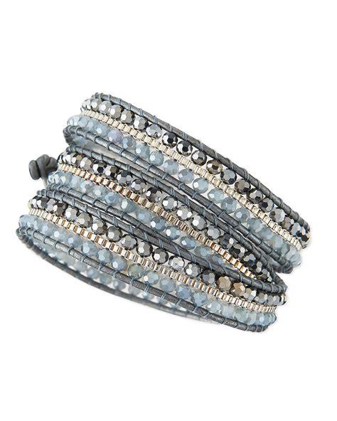 bead wrap bracelet nakamol beaded wrap bracelet in silver lyst