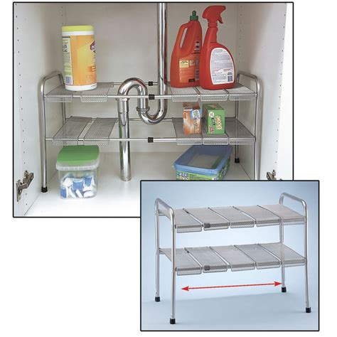 the kitchen sink organizer 2 tier expandable adjustable sink shelf storage