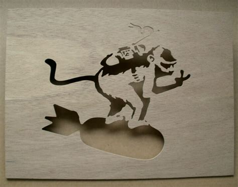 monkey riding bomb wooden stencil banksy b u t