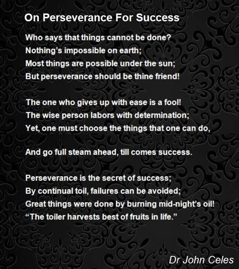 On Perseverance For Success Poem By Dr A Celestine Raj