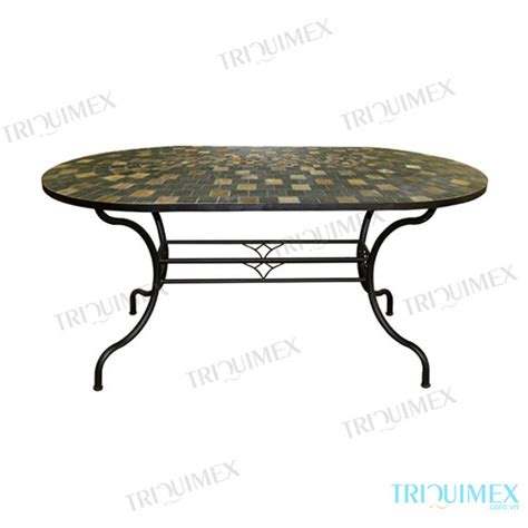 wrought iron patio dining table wrought iron patio dining table with oval slate mosaic top