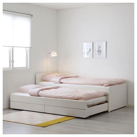 ikea storage bed sl 196 kt bed frame with underbed and storage white 90x200 cm