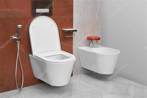 Toilet En Bidet by Toilet And Bidet In A Modern Bathroom Stock Photo