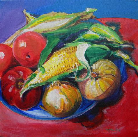 acrylic painting vegetables summer vegetables by pam londen