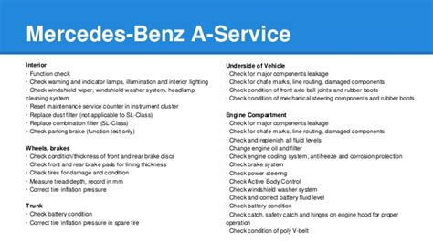 Mercedes A Service mercedes a service and b service