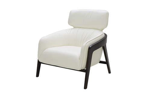 White Leather Accent Chair modern white leather accent chair with wood legs