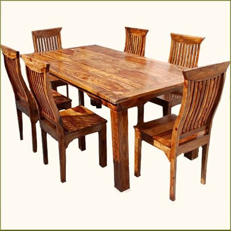 wooden kitchen table set rustic 7 pc solid wood dining table chair set rustic