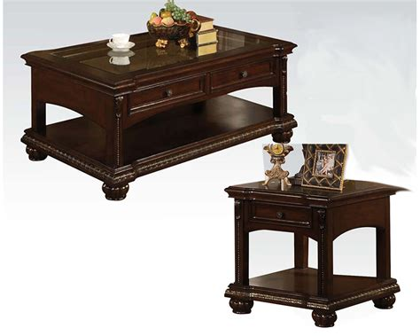 traditional coffee table sets traditional coffee table set in cherry anondale by acme