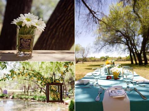 outdoor table centerpieces retro themed outdoor wedding reception tablescape and