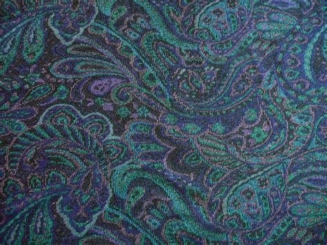 peacock knit fabric vintage paisley wool knit fabric yardage in navy