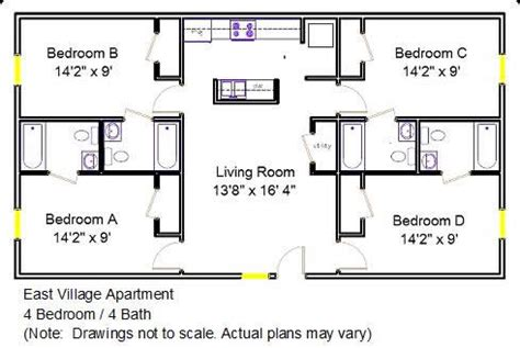 4 bedroom 2 bath floor plans east apartment floor plan 4 bedroom 4 bath 2