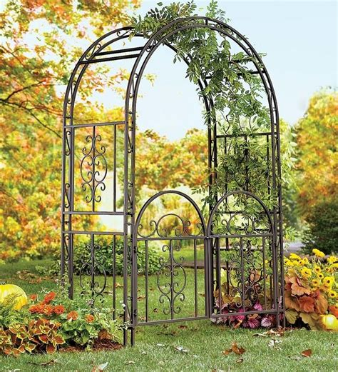 Garden Arch Materials Large Garden Arbor Iron Patio Archway W Optional Gate
