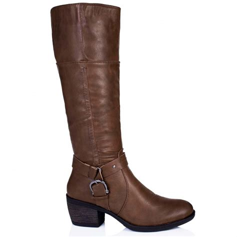 leather knee high boots for buy embellish block heel buckle knee high boots brown leather style
