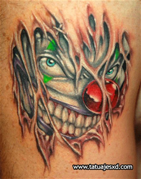 leg tattoo of a clown