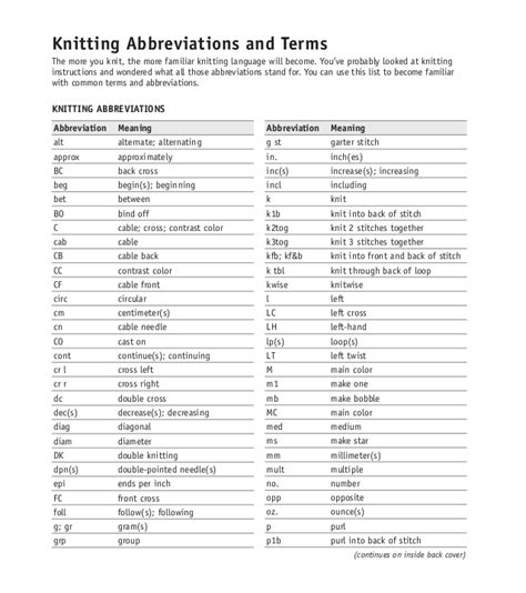 knitting glossary creatys free crochet pattern and images