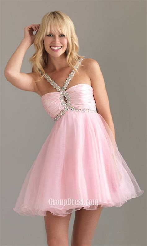 pink beaded dress pink beaded straps sleeveless a line empire ruched