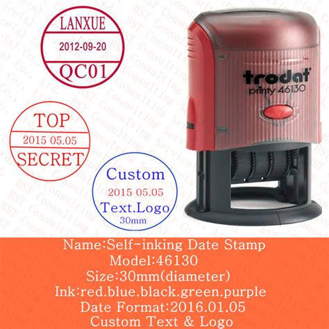 custom self inking rubber sts free shipping custom logo date sts self inking st