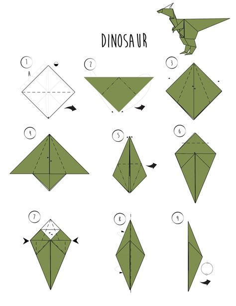 dinosaur origami how to make an origami dinosaur 3 ways wikihow via