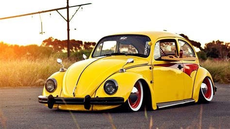 Car Wallpaper Vw by Yellow Tuned Volkswagen Beetle Day Hd Wallpaper