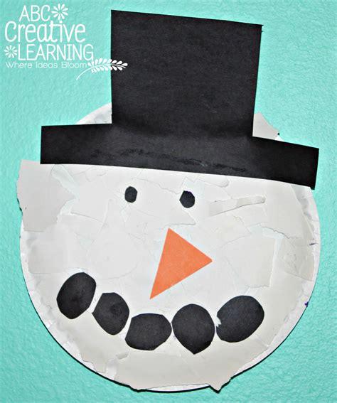 snowman paper craft torn paper plate snowman craft