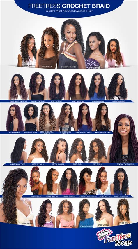 types of freetress braid hair freetress synthetic hair crochet braids senegalese twist