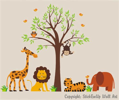 wall stickers outlet tree and safari animal wall stickers 2017 grasscloth