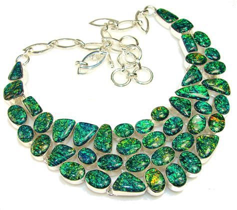 glass jewelry beautiful dichroic glass sterling silver necklace 114
