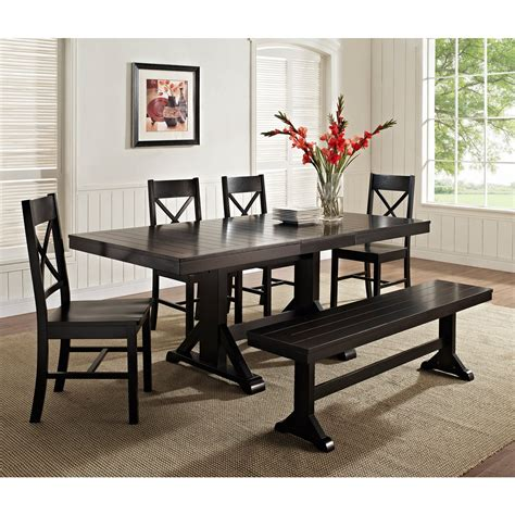 kitchen tables and benches dining sets walker edison black 6 solid wood dining set with