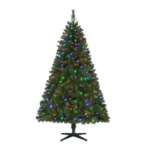prelit tree led home accents 6 5 ft pre lit led wesley artificial