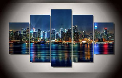 Night Sky Wall Mural best quality 5 panel framed printed new york city painting