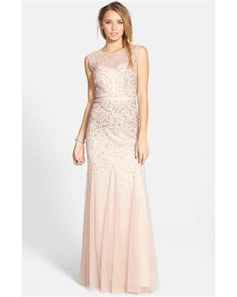 beaded chiffon dress papell beaded chiffon gown in pink blush lyst