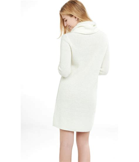 knitted sweater dress express soft ivory cowl neck mixed knit sweater dress in