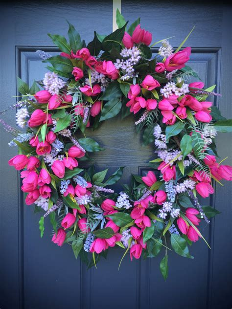 pink tulip wreath wreaths tulip door wreaths