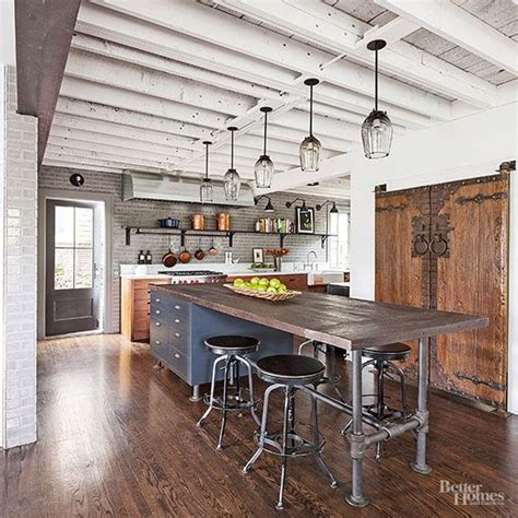 industrial kitchen island industrial meets rustic in this kitchen kitchen design beams and ceiling