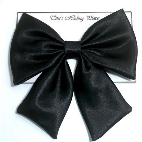 black satin bow large satin fabric hair bow