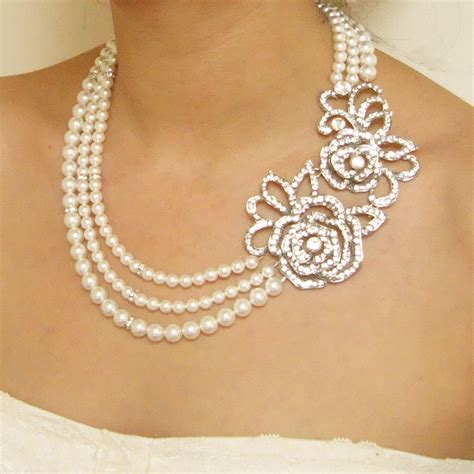 necklace for statement pearl wedding bridal necklace vintage style
