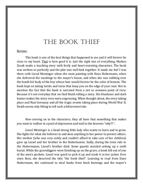 pictures of the book a review reflection on the book thief