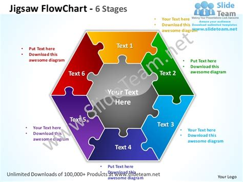 jigsaw flowchart 6 stages powerpoint templates 0712